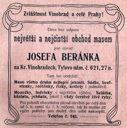 Beránek, inzerát, 1905. Zdroj: M. Frankl