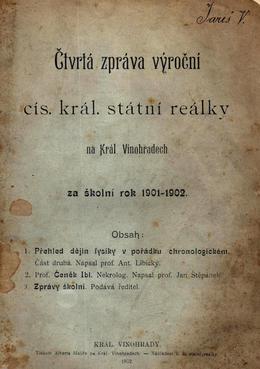Na Smetance, výroční zpráva c. k. reálky. Zdroj: archiv M. Frankla