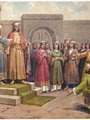 Text na pohlednici: Oslepený kníže Jaromír, zapomínaje na všechny křivdy, ustoupil synovci Břetislavovi, řka: toť kníže váš (Roku 1034)