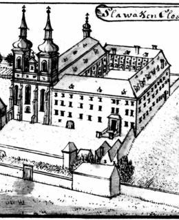 F. B. Werner, Emauzský klášter od jihu, 2. polovina 18. století (převzato z UPP Nové Město)