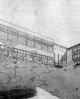 František Marek-Karel Kotas, soutěžní návrh na stavbu Sokolovny v Riegrových sadech, 1936 (převzato ze Styl, 1936)