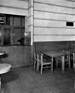 Jídelna v Černém pivovaru (převzato ze Styl, 1934 - 1935)