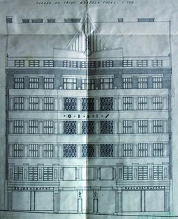 Návrh průčelí domu Orbis na Vinohradské ulici, 1924-1925