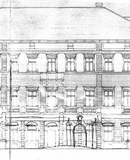 Pavel Smetana, plán rekonstrukce vily po válečném bombardování, 1950