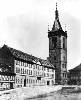 Pohled na budovu Novoměstské radnice před neogotickou přestavbou, snímek SÚPPOP