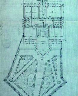 Půdorys přízemí se zahradou Kovařovicovy vily, 1912