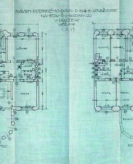 Půdorysy 1. patra a podkroví Kovařovicovy vily, 1912