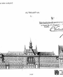 Rudolf Kříženecký, plán přístavby 3. patra, pohled z Karlova nám., 1927