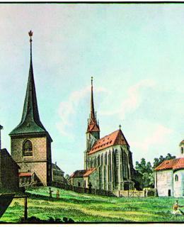 Vincent Morstadt, Kaple Jeruzalémská, zvonice, sv. Štěpán a sv. Longin kolem 1850