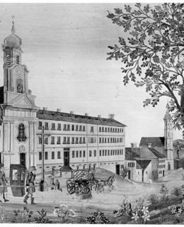 Klášter alžbětinek na Slupi s kostelem P. Marie Bolestné, počátek 19. století