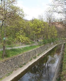 Potok Botič tvroří jižní hranici parku