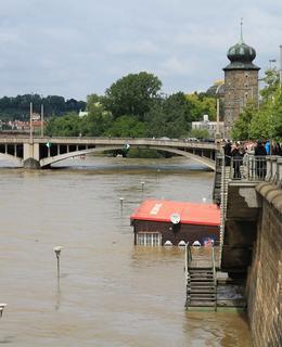 Velká voda zaplavila náplavku v červnu 2013. Foto Milan Polák