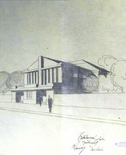 Návrh Divadla Na Slupi, zdroj: archiv ÚMČ Praha 1