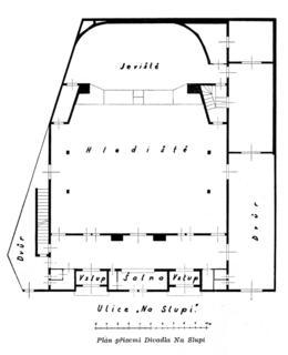 Půdorys divadla Na Slupi, zdroj: Javorin, 1949