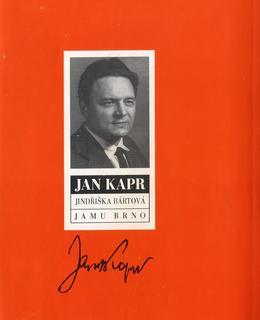 Obal knihy J.Bártová: Jan Kapr