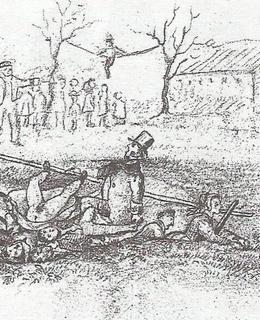 V roce 1858 se pod návštěvníky Fidlovačky prolomil dřevěný mostek přes Botič. Obrázek je od neznámého kreslíře-humoristy (archiv MILPO)