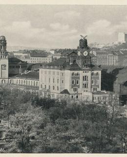 Wilsonovo nádraží a Vrchlického sady, 1936, pohlednice