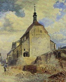 Kostel sv. Václava na Břežské skále na akvarelu Václava Jansy. Archiv MILPO