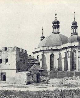 Karlov 1890 - kostel a zbytky opevnění, strážní věže