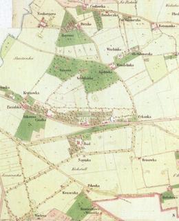 Na katastrální mapě Vinohrad z roku 1840 je zcela vlevo zakreslen pozemek a stavba viniční usedlosti Neubergova