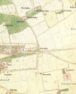 Na výřezu z katastrální mapy Vinohrad z r. 1840 je uprostřed zakreslena usedlost Cikánka