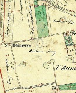 Usedlost Šafránka (viz Heinowka) na mapě z počátku 40. let 19. století. Sousední Feslová je v Dykově ulici (archiv)