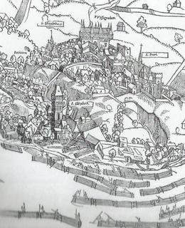Vory na Vltavě pod Vyšehradem zachytil už prospekt J. Kozla a M. Peterleho z roku 1562