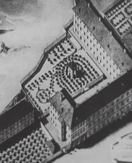 Nemocnice s ústavem pro choromyslné (vlevo) na výkresu žáka profesora Hergeta, r. 1799