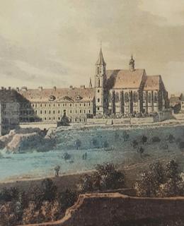 Kostel sv. Apolináře s porodnicí. V. Morstadt, kolorovaný lept, r. 1825