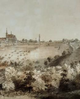 Ráz krajiny pod Karlovem na počátku 19. století, vpravo hradební zeď