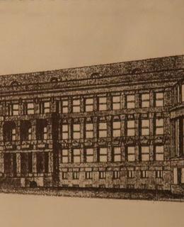 Návrh fasády z roku 1923 (Zdroj: MČ Praha 2)