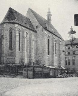 Foto kostela během opravy v roce 1910 (Foto Zlatá Praha)