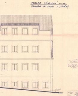 Projekt navýšení domu z roku 1988. Zdroj: Stavební archiv ÚMČ Praha 2