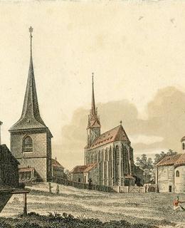 Okolí kostela sv. Štěpána před r. 1825, V. Morstadt, kolorovaný lept. Zdroj: MMP H 5148
