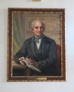 Portrét J. E. Purkyně u vstuoních dveří (Foto M. Polák)