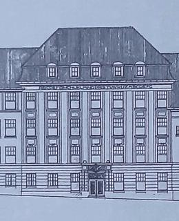 Blechův návrh fasády původní gynekologické kliniky VFN čp. 499 z roku 1915