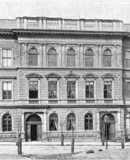 Původní podoba školní budovy (Zdroj: K. Rais, Ant. Turek: Politický a školní okres Vinohradský,1898)