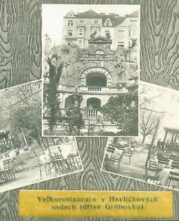 Na pohlednici jsou restaurace v Grébovce. Pavilon vlevo