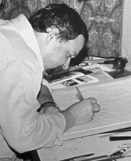 Oldřich Kulhánek při práci, 70. léta. Zdroj: rodinný archiv