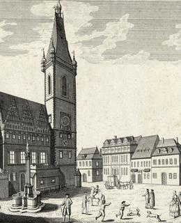Novoměstská radnice, J. J. Dietzler, 1743. Zdroj: MMP, inv.č. H028 831
