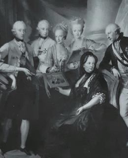 Marie Terezie po smrti manžela v kruhu svých dětí. Josef II. vpravo