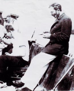 Josef Rössler-Ořovský na lodi v Yacht klubu pod Vyšehradem