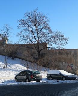 Zcela vpravo je na snímku brána do jižních zahrad Emauzského kláštera často mylně považována za bránu Fišpanky (Foto M. Polák, únor 2021)