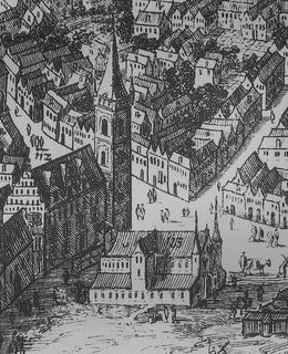 Výřez rytiny F. van Ouden-Allena z roku 1685 s Novoměstským ungeltem před radnicí.