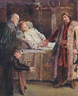 Jiří z Poděbrad u smrtelného lože Ladislava Jagellonského (pohlednice)