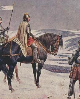 Král Jiří nad oblkíčenými Uhry u Vilémova (pohlednice)