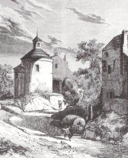 Kresba vyšehradské ulice V Pevnosti v 19. století