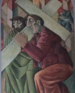 Malba v evangelickém kostele na Vinohradech (Foto M. Polák, 2021)