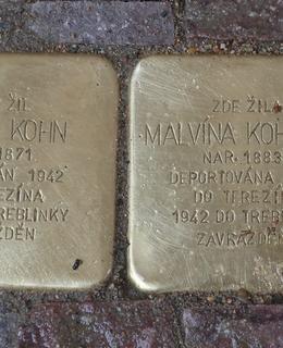 Oba kameny M. a V. Kohnových v dlažbě před domem Šumavská 24 (Foto M. Polák)