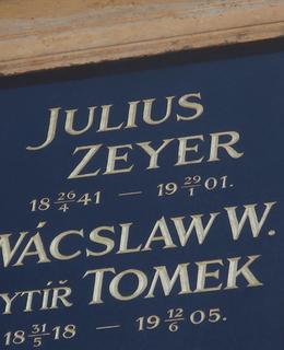 Zeyerovo jméno na Slavíně (Foto M. Polák, květen 2021)